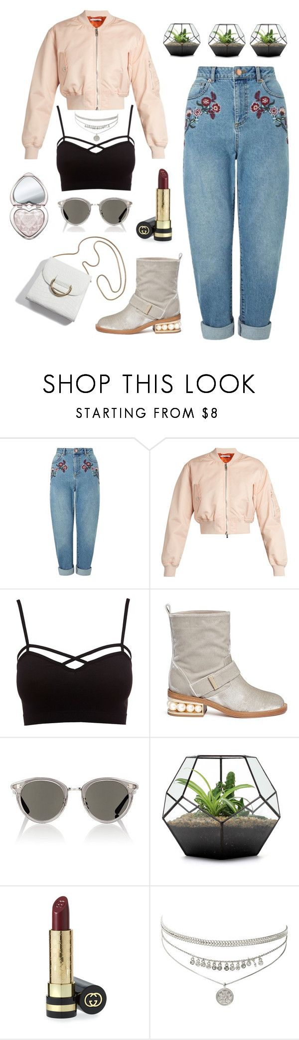 """Fresh"" by lanagur on Polyvore featuring мода, Miss Selfridge, Givenchy, Charlotte Russe, Nicholas Kirkwood, Oliver Peoples, Gucci, Too Faced Cosmetics, Spring и bomberjacket"