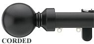 Silent Gliss Metropole Corded 30mm, 6120 Black, Overture Ball Finial