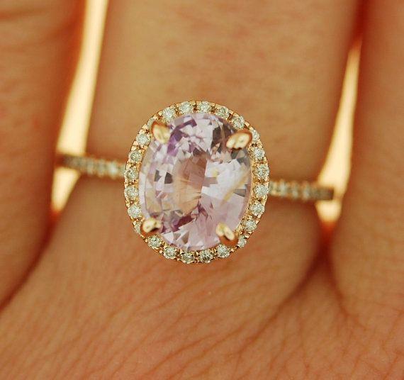 Lavande pêche saphir bague diamant bague de 14k par EidelPrecious
