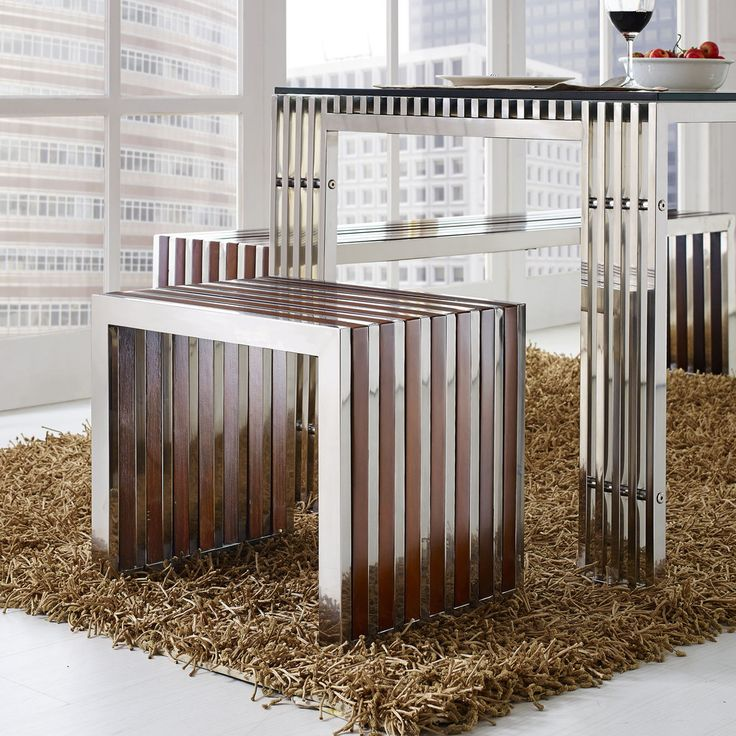 Wood Inlay Small Bench in Walnut and Stainless Steel | Contemporary Furniture Warehouse