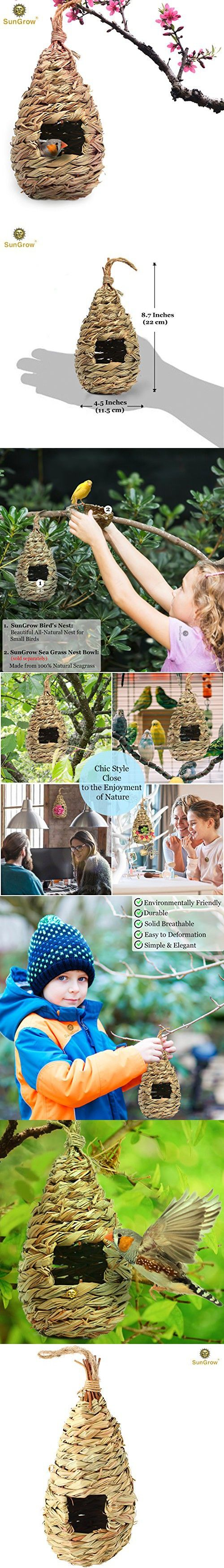 Hand-Woven Teardrop Shaped Grass Bird Hut by SunGrow - 100% Natural Fiber - Cozy resting place for birds - Provides shelter from cold weather - Bird hideaway from predators - Ideal for Finch & Canary