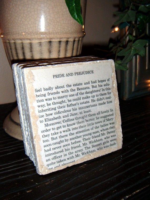 Pride And Prejudice Jane Austen Book Coaster Set By