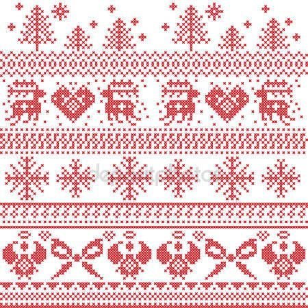 Patrón de Navidad nórdica escandinava con renos, conejos, árboles de Navidad, Ángeles, arco, corazón, en punto de Cruz — Vector de stock