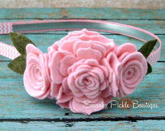 Wool Felt Flower Headband Peach & Brown by SwankyPickleBoutique