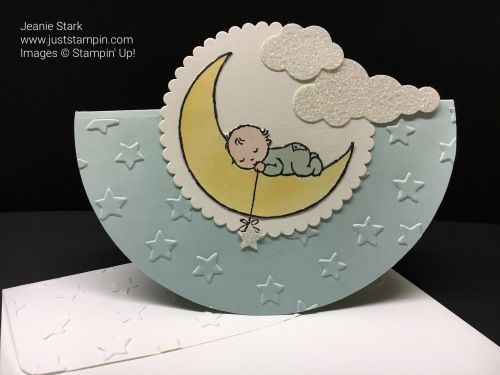 Moon Baby, Shimmery White, Dazzling Diamonds Glimmer Paper, Layering Circles Framelits, Up & Away Thinlits, Aqua Painter, Lucky Stars EF - Rocker card