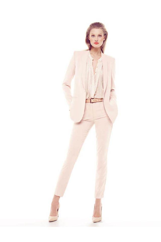traje chaqueta zara blanco
