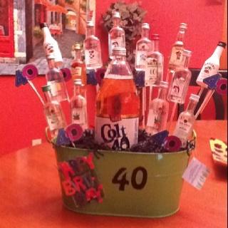 40th Birthday Liquor Bouquet Gift