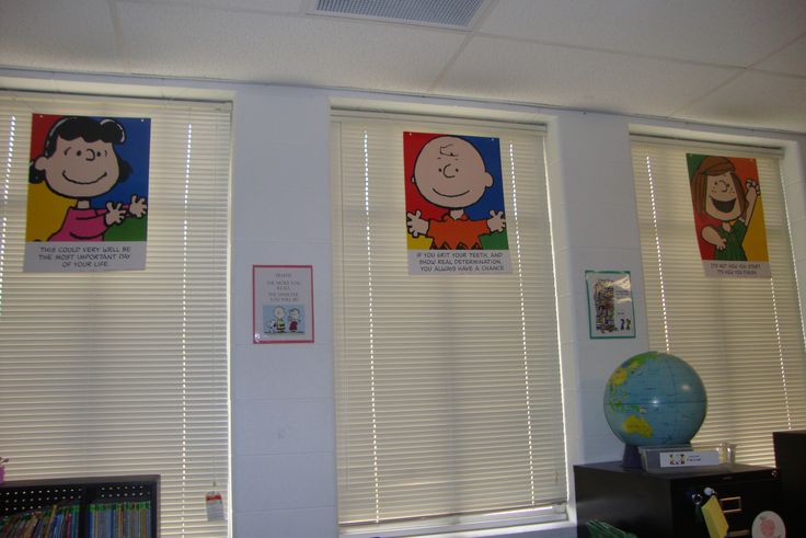 Classroom decor my alternative to curtains for a peanuts gang themed classroom my peanuts for Decor ingang