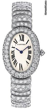 Cartier Baignoire 1920 Diamond 18kt White Gold Ladies Watch 18kt white gold case and bracelet set with round-cut diamonds