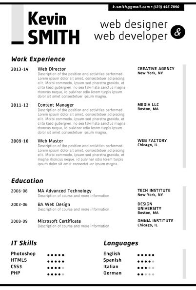 7 best Web Designer Resume Template images on Pinterest Creative - breakfast attendant sample resume