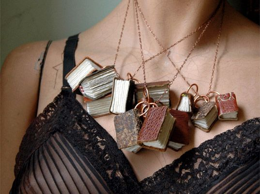The Black Spot Books recycled book necklace