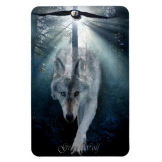 Bald Eagle & Grey Wolf Wildlife Art Premium Magnet