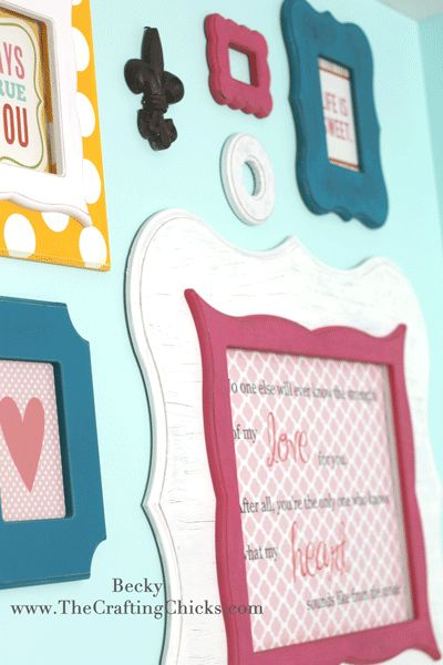 This is on my list of things to do in my daughter's room. colorful gallery wall
