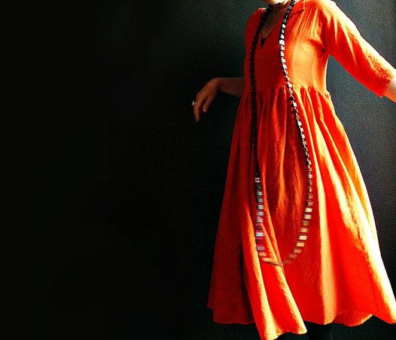 Bright Orange Cheesecloth Dress by 13threads on Etsy, £135.00