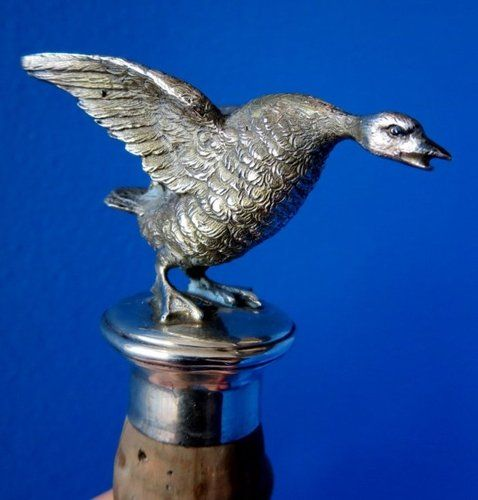 Antique Sterling Silver Figural Bottle Stopper Hunt Motif Angry Goose Duck