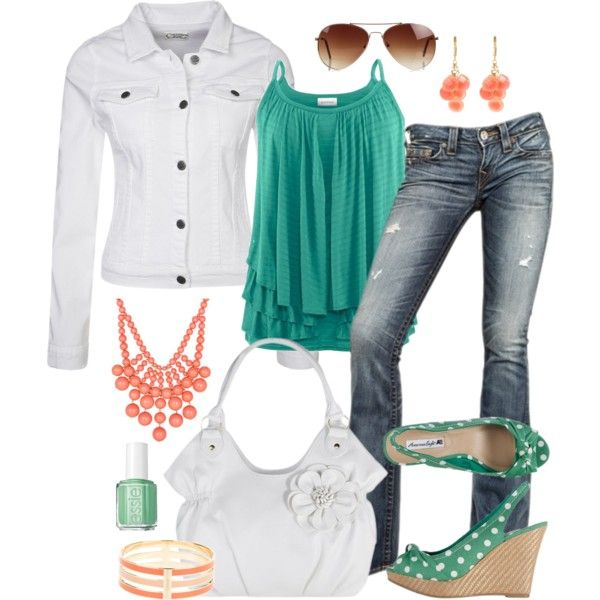"""""""Teal and Coral"""" by fun-to-wear on Polyvore"""