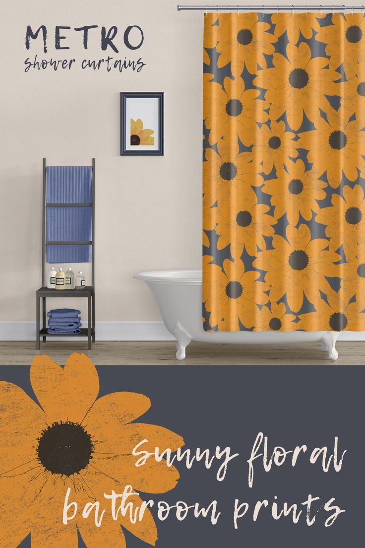 Sunny Floral Print Shower Curtains Mod Print Boho Style