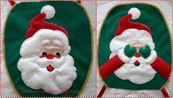 Molde capa de vaso sanitário papai Noel em feltro