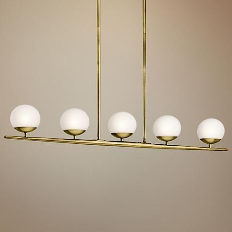 """Kichler Jasper Halogen 38 1/2""""W Brass Linear Chandelier @lampsplus #sponsored"""