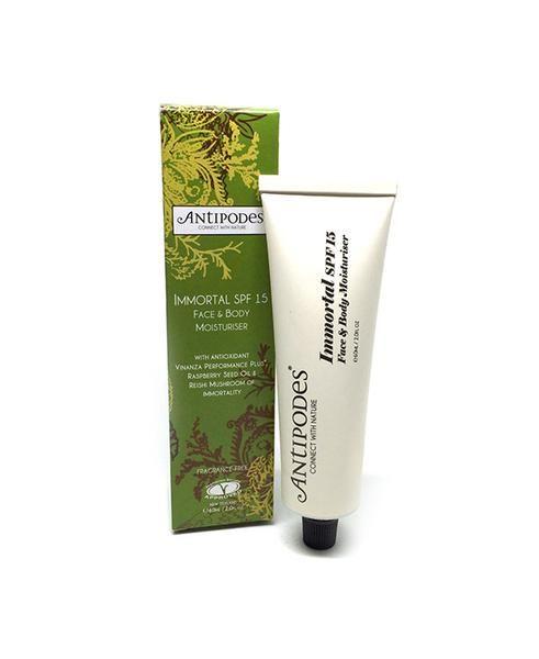 Immortal SPF15 Face & Body Moisturiser, antipodes, levetrina, skin, skin care, moisturiser, body, body care, face, face care,
