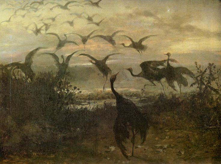 Józef Chełmoński - Odlot żurawi