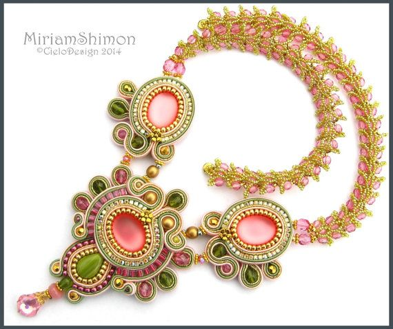 Pink Olive and Gold Soutache necklace with Luna by MiriamShimon, $225.00