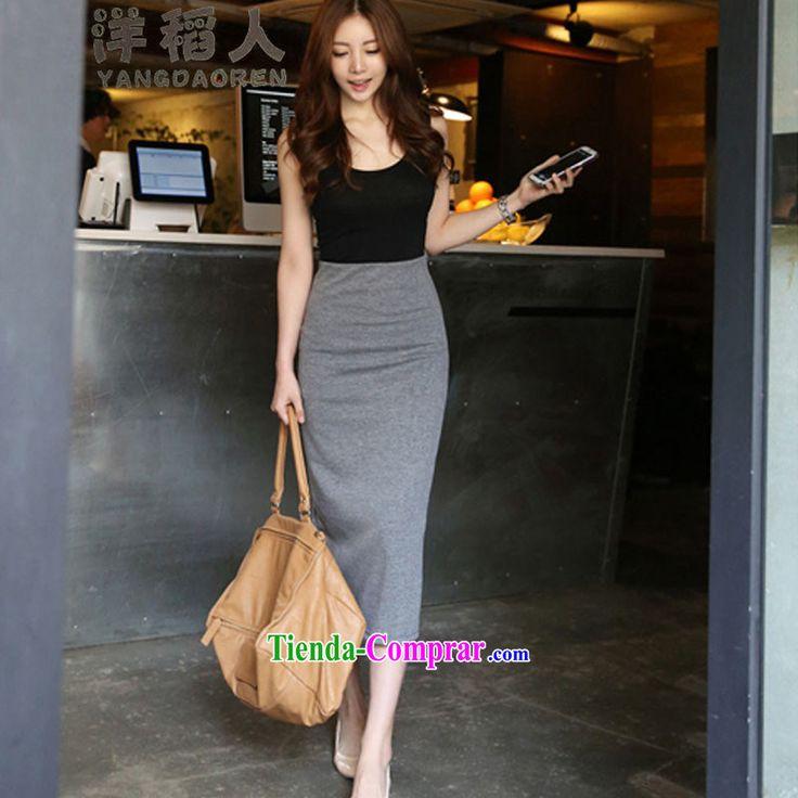 Yang Inato 2015 nuevo coreano temperamento OL Lomo superior del cuerpo de la carretilla elevadora en una falda larga falda larga falda paquete y paso son grises código #6685 Falda