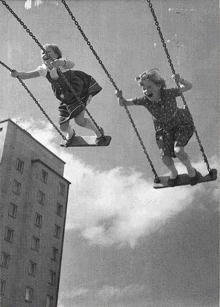 Swinging high in the Kaleva district of Tampere, Finland (circa 1950s) • photo: Ensio Kauppila