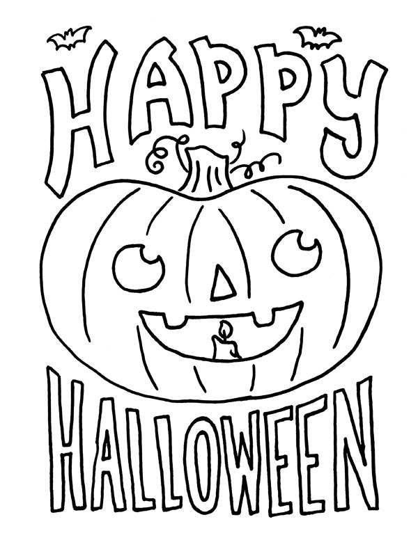 Happy Halloween Coloring Pages For Kids                                                                                                                                                     More