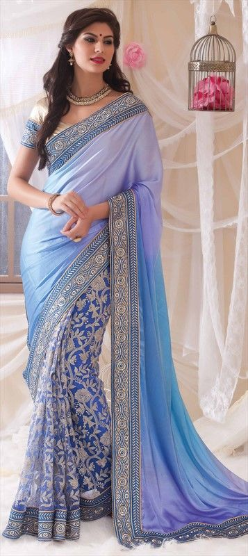 158762 Blue  color family Bollywood sarees in Net, Satin fabric with Border, Machine Embroidery, Thread work .