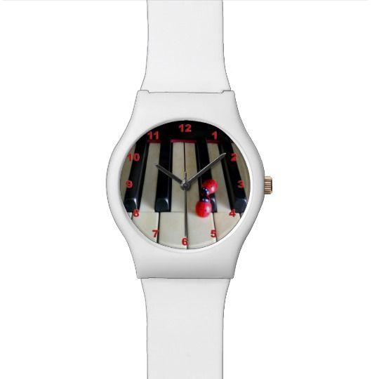 Piano - Nostalgia White Watch by www.zazzle.com/htgraphicdesigner* #zazzle #gift #giftidea #wrist #watch #wristwatch #woman #piano #music #white #keyboard