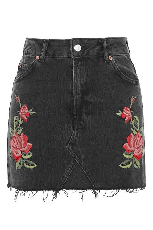 MOTO Rose Embroidered Skirt