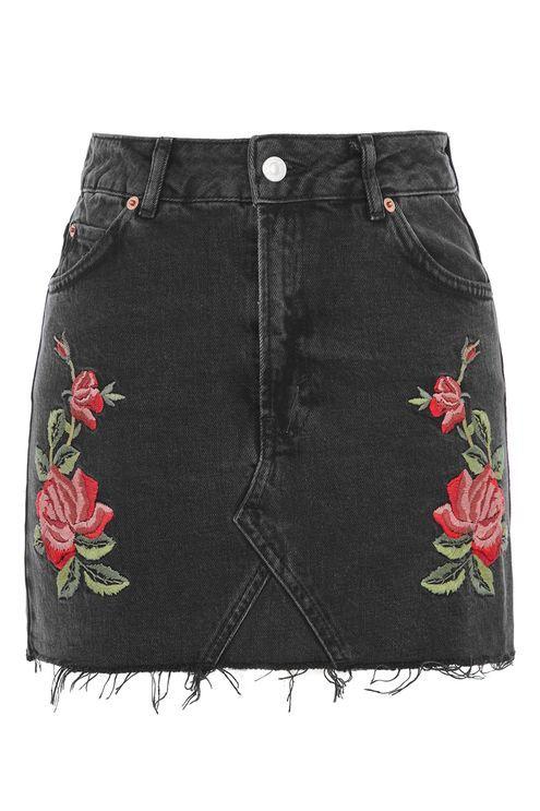 MOTO Rose Embroidered Skirt