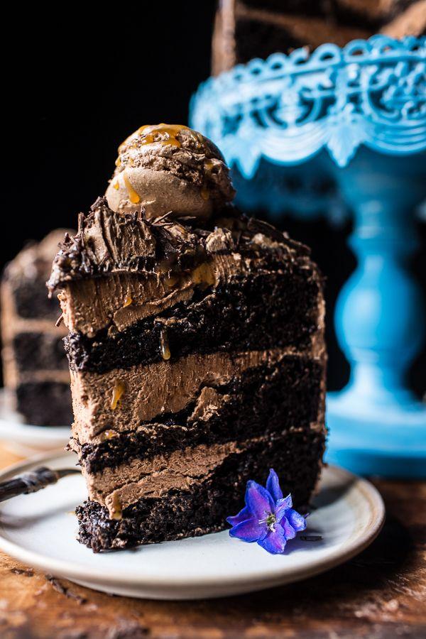 "sweetoothgirl: ""Chocolate Bourbon Caramel Macaron Cake """