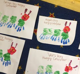 From The Hive: caterpillars handprint craft.