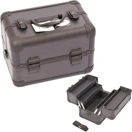 11.5 inch Black Dottie Pattern Aluminum Travel Organizer Makeup Artist Cosmetic Train Cas inch Black Dottie Pattern Aluminum Travel Organizer Makeup Artist Cosmetic Train Case 11.5