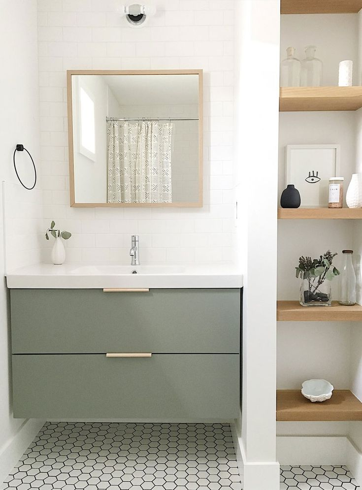 Kid and Guest Bathroom Design. A Scandinavian Farmhouse style bathroom. See more on The Fresh Exchange.
