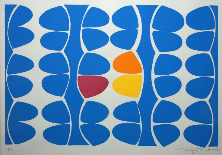 This Terry Frost Print is called 'Variations (Blue Segments)'. (Kemp 72). As per the Kemp Catalogue Raisonne, planned as an edition of 75 but not released. 13 Artists Proofs are known to exist, one of which is at the Aberdeen Art Gallery & Museums.