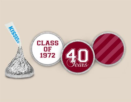 Chocolate Class Reunion Favors: Homecoming Stickers Personalized HERSHEY'S KISSES Stickers Front