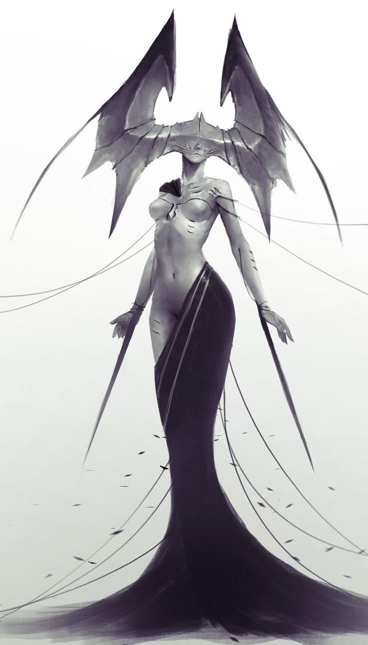 Silhouette féminine, drapée de la taille jusqu'à ses pieds (lady of pain)