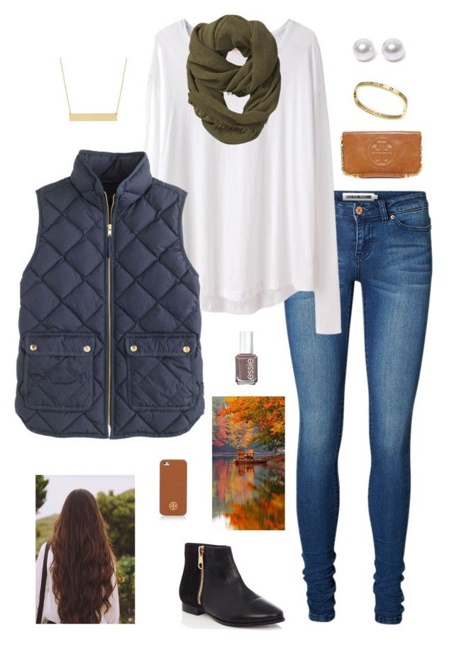 """""""J is for J. Crew!!"""" by gabbbsss ❤ liked on Polyvore featuring Vero Moda, Organic by John Patrick, J.Crew, Athleta, Fremada, Nouv-Elle, Oasis, Tory Burch and Essie"""