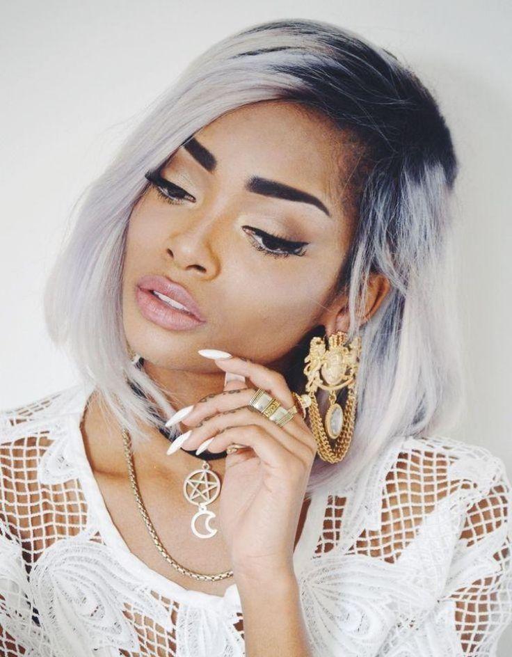 cheveux gris mode 2016- racines foncées et longueur claire