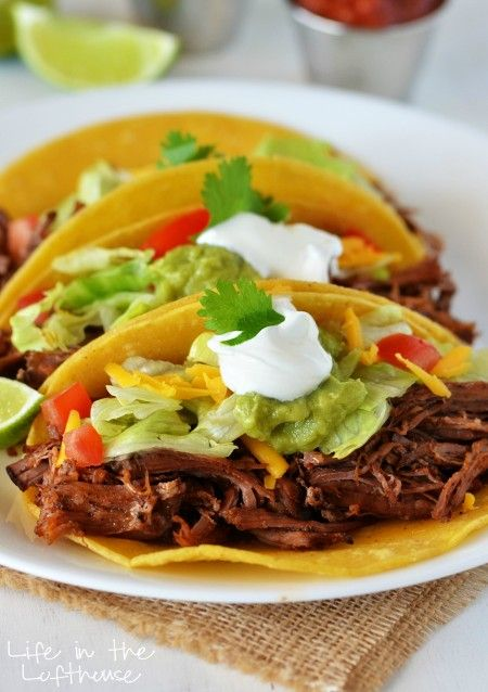 "Crock Pot Shredded Beef Tacos - ""Delicious and flavorful beef that slow cooks all day. These are incredible!""  