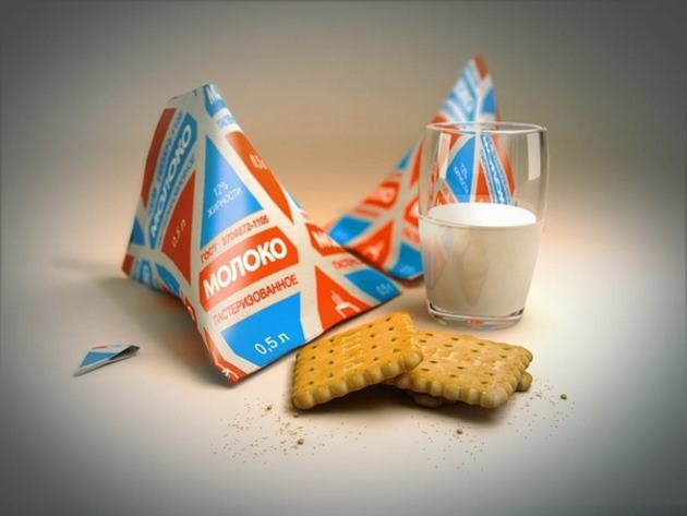 Soviet era milk pack -- I remember cream came in these pyramid shaped containers in Dublin in the 70s, delivered by the milkman.