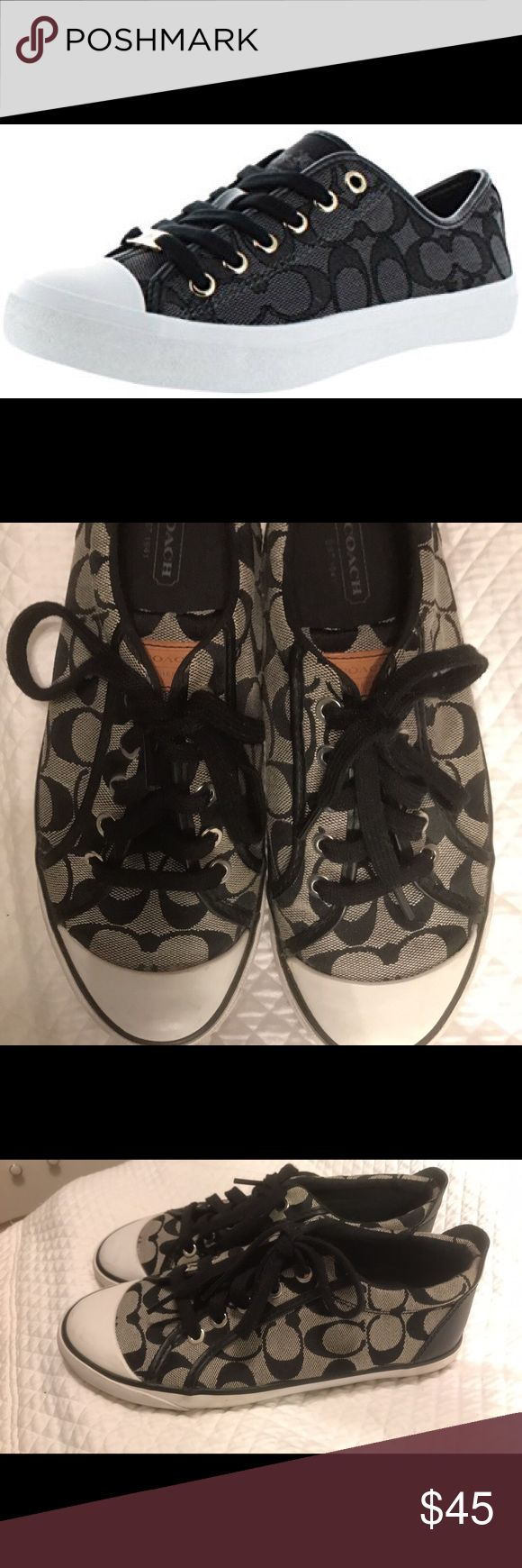 Coach sneakers Worn twice !! Gray and black Coach Shoes Sneakers
