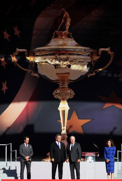 Former Ryder Cup captains Tony Jacklin of Europe and Jack Nicklaus of the United States speak during the 2016 Ryder Cup Opening Ceremony at Hazeltine National Golf Club on September 29, 2016 in Chaska, Minnesota.