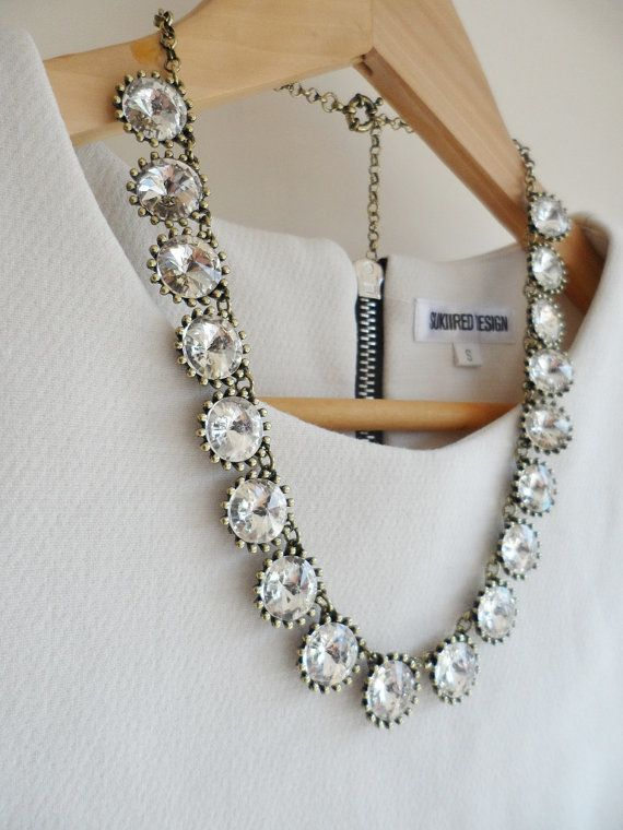 Clear Jewel Crystal Bling Statement Necklace. Looks just like the J Crew one, but significantly cheaper!