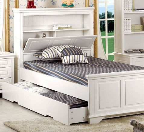 KING SINGLE MACKENZIE (LS-031) (MODEL 13-15-26-1-18-20) BED WITH SINGLE TRUNDLE BED - IVORY WHITE