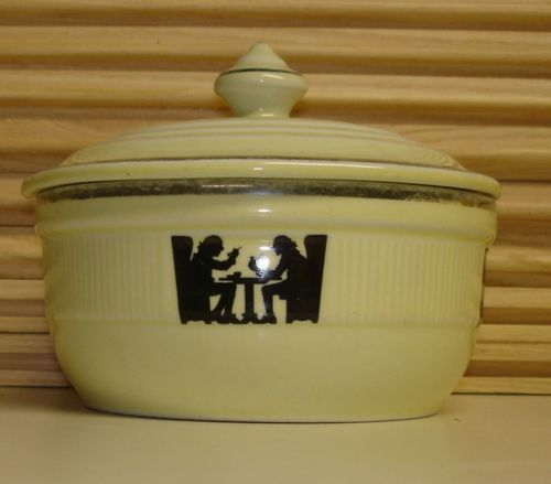 Lovely Vintage HALL China SILHOUETTE Medallion Shape Covered Utility . Grease KitchenwareHallSilhouetteSilhouettes