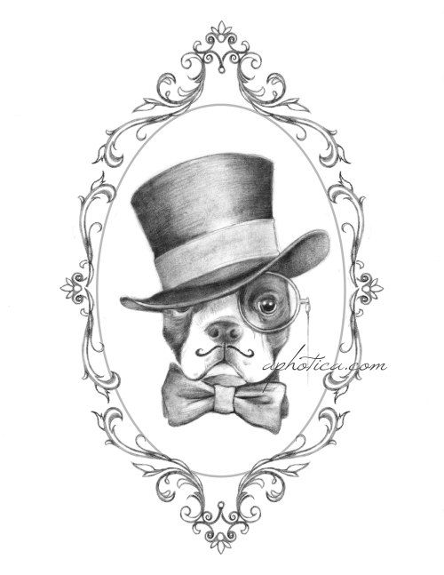 boston terrier gentleman in top hat and bow tie by aphotica, $15.00